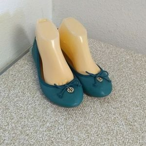 Tory Burch Teal Blue Leather Ballet Flats